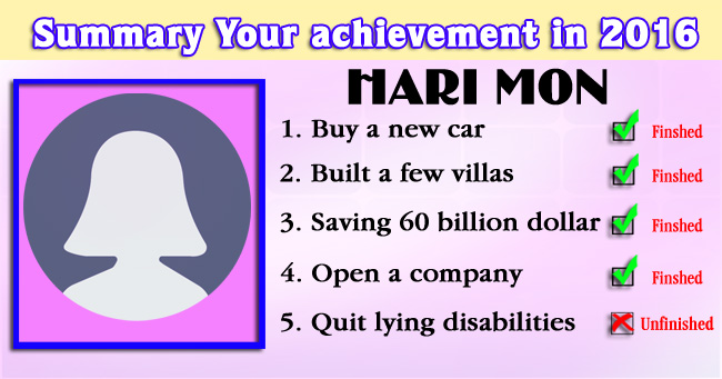 Summary Your achievement in 2016